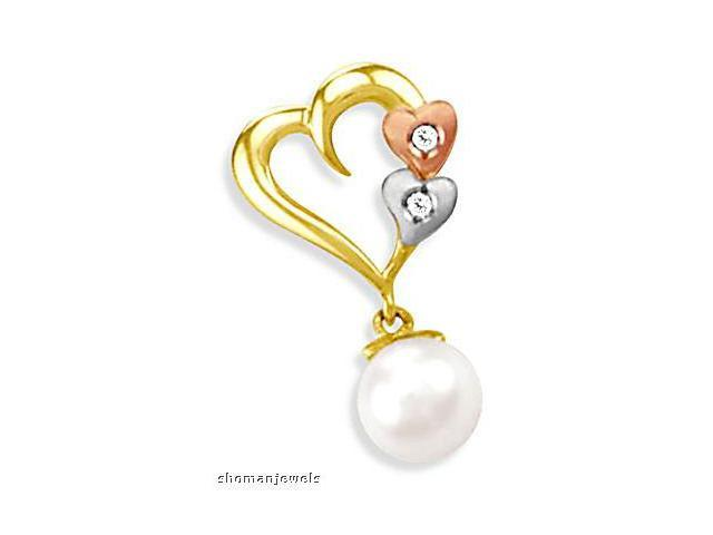 Hearts Pendant CZ & Pearl 14k White Rose Yellow Gold Cubic Zirconia