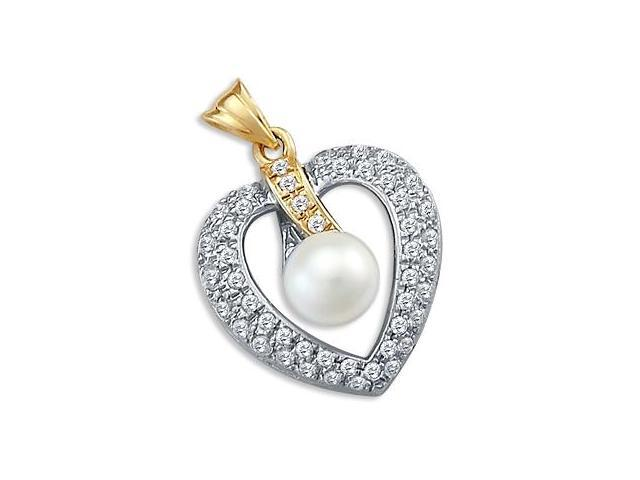Pearl Heart CZ Pendant 14k Yellow and White Gold Cubic Zirconia