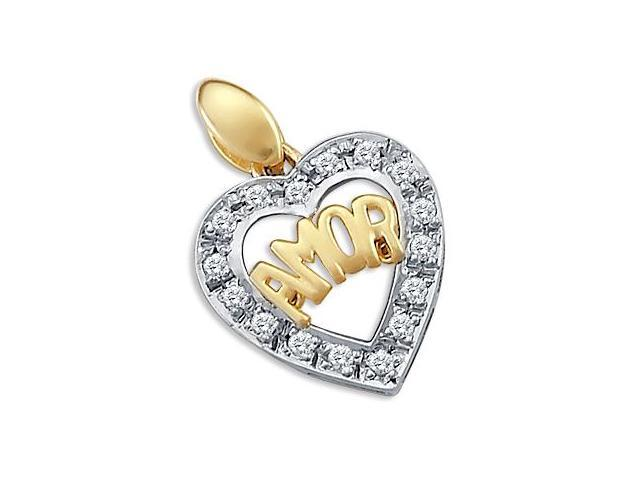 AMOR Love Heart Pendant CZ Cubic Zirconia 14k Yellow White Gold Charm