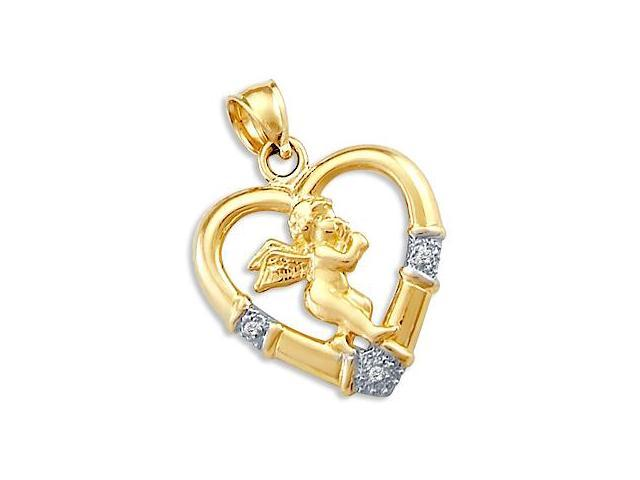 Heart Angel Pendant CZ 14k Yellow White Gold Charm Cubic Zirconia