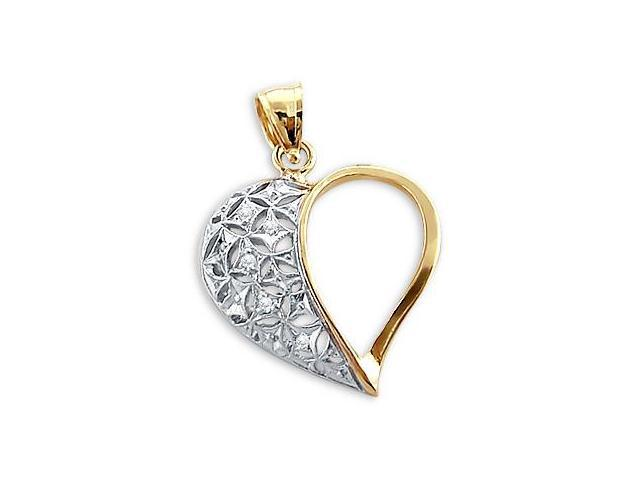 Heart Pendant CZ 14k White and Yellow Gold Love Charm Cubic Zirconia