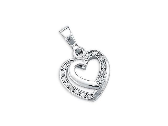 Double Two Heart Pendant CZ 14k White Gold Love Charm Cubic Zirconia