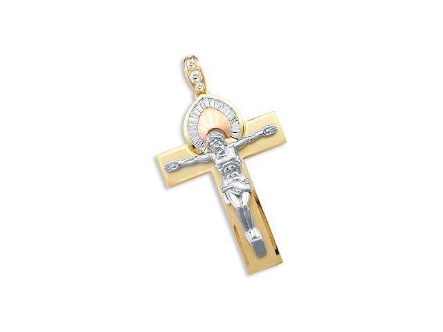 CZ Cross Crucifix Pendant 14k White Yellow Gold Halo Charm 3.00 inch