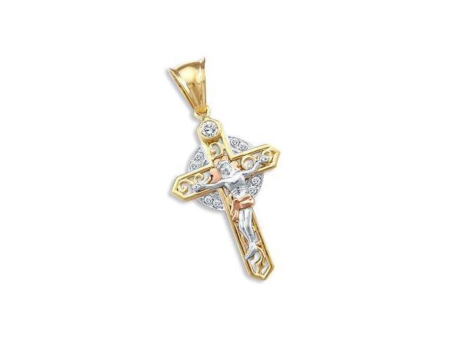 Celtic CZ Cubic Zirconia Crucifix Pendant 14k White Rose Yellow Gold
