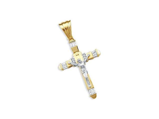 CZ Cross Jesus Pendant 14k White & Yellow Gold Crucifix Cubic Zirconia
