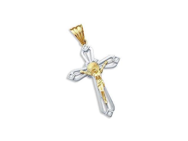 Cross Pendant CZ 14k Yellow White Gold Fashion Charm 2.00 inch