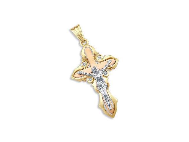 Crucifix Cross Pendant 14K Yellow White Rose Gold Charm 1.75 inch