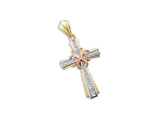 Cubic Zirconia Cross Pendant 14k White Yellow Rose Gold Crucifix Charm