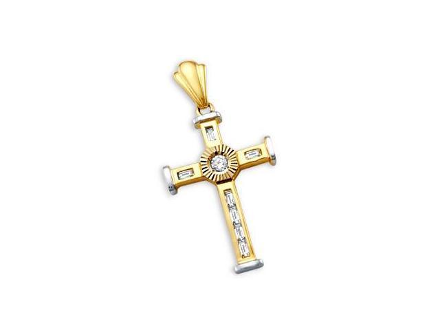 Cross Pendant CZ 14k Yellow White Gold Fashion Charm 1.50 inch