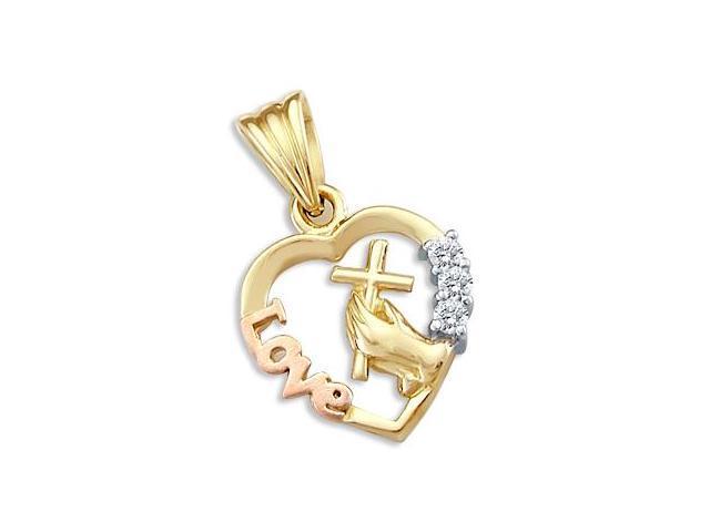 Love Cross Hands Heart Pendant CZ Cubic Zirconia 14k Rose Yellow Gold
