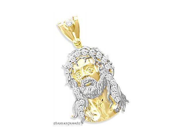 Jesus Face Pendant CZ 14k Yellow Gold Charm Cubic Zirconia