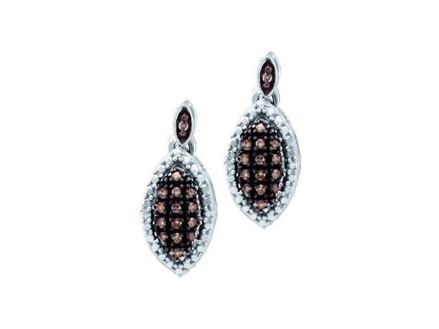 Dangle Brown Champagne Diamond Earrings 10k White Gold Drop (1/5 CTW)