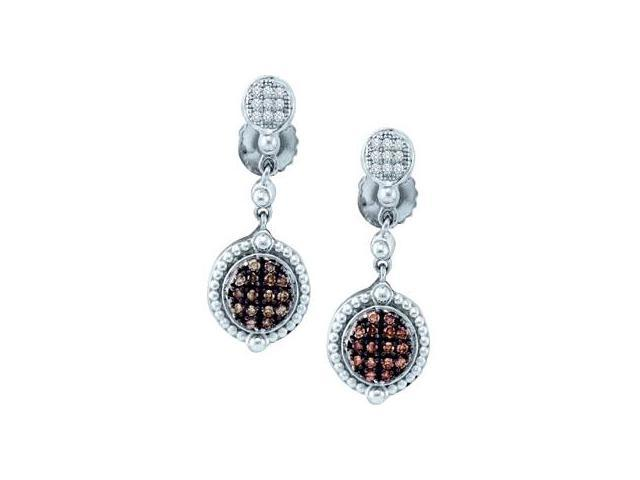 Brown Champagne Diamond Dangle Earrings 10k White Gold Drop (1/4 CTW)