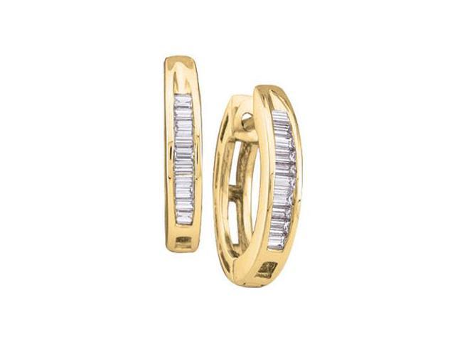 Diamond Earring Hoops 10k Yellow Gold Huggies Baguette (0.15 Carat)