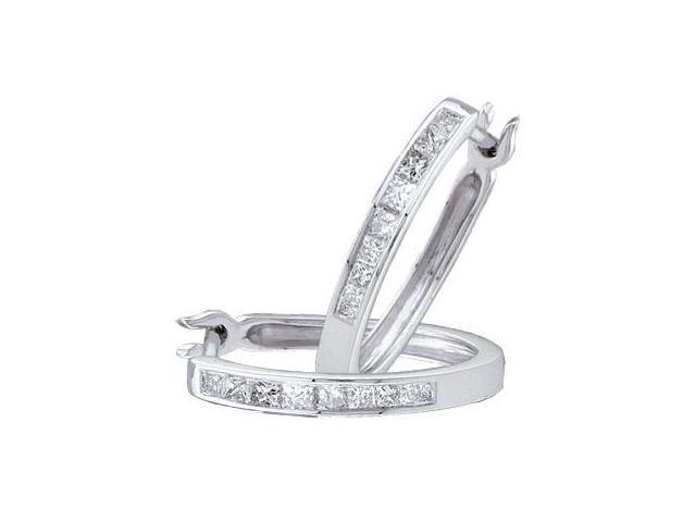 Diamond Hoop Earrings 14k White Gold Princess Channel Set (1/3 Carat)