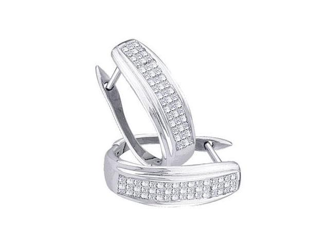 Diamond Hoop Earrings 14k White Gold Princess Channel Set (1/2 Carat)
