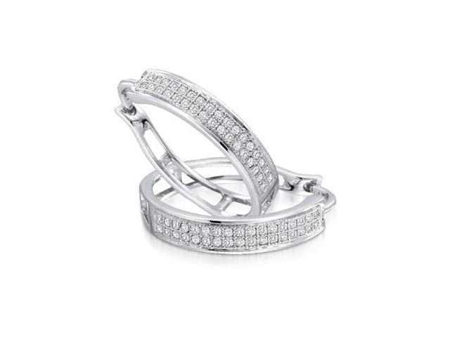 Diamond Hoop Earrings Round Micro Pave 10k White Gold (1/5 Carat)