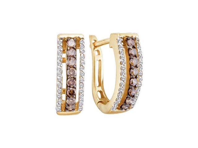 Brown Chocolate Diamond Hoop Earrings 14k Yellow Gold Round (1/2 CTW)
