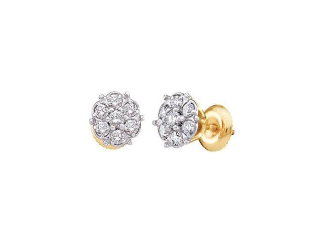 Round Diamond Earring Studs Solitaire Set 14k Yellow Gold (1/10 Carat)