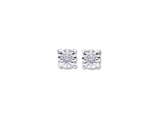 Solitaire Diamond Earring Studs Round 10k White Gold (0.05 Carat)