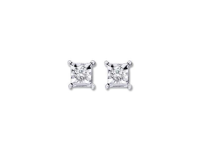 Solitaire Diamond Earring Studs Square Round 10k White Gold (0.05 CTW)