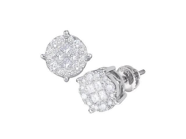 Diamond Stud Earrings Round Solitaire Set 14k White Gold (1.02 Carat)