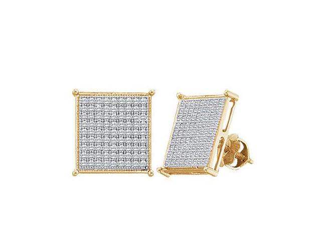 Square Diamond Earring Studs 10k White Yellow Gold Micro Pave (0.40ct)