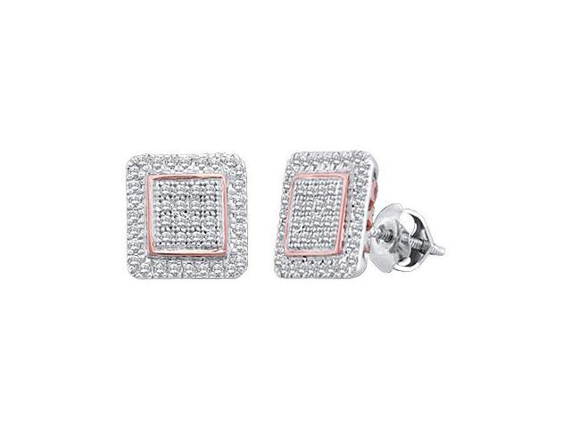 Diamond Stud Earrings Square 10k White Rose Gold Micro Pave (1/3 CTW)
