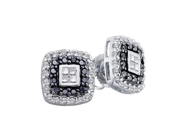Black Diamond Earring Studs 14k White Gold Square (1/2 Carat)