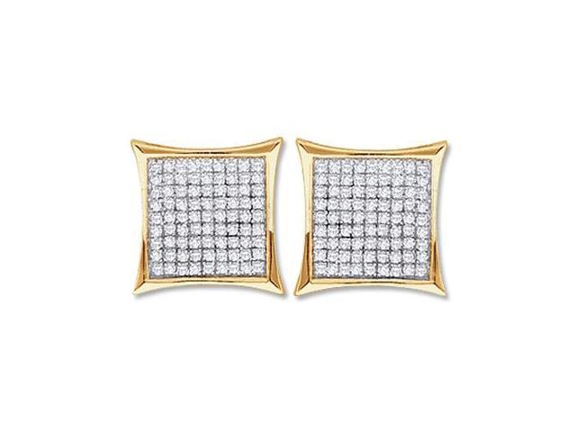 Diamond Stud Earrings 10k White Yellow Gold Micro Pave (1/4 Carat)