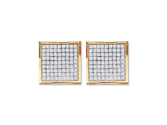 Diamond Stud Earrings Square 10k Yellow Gold Micro Pave (1/2 Carat)