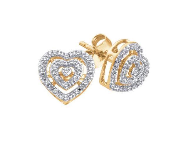 Diamond Heart Earring Studs 10k Yellow Gold (0.08 Carat)