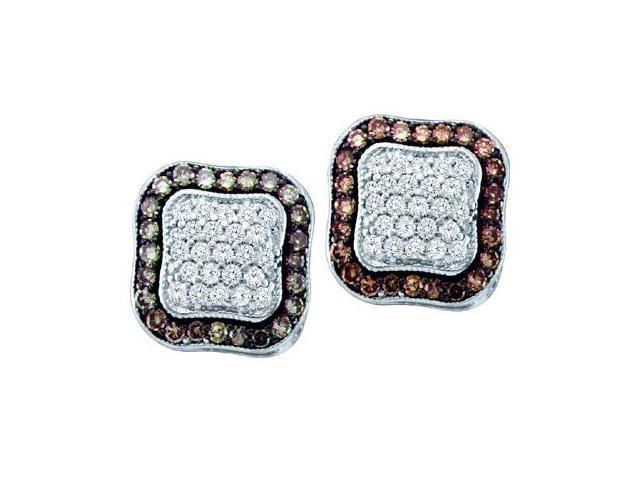 Brown Champagne Diamond Earring Studs 10k White Gold (1.00 Carat)