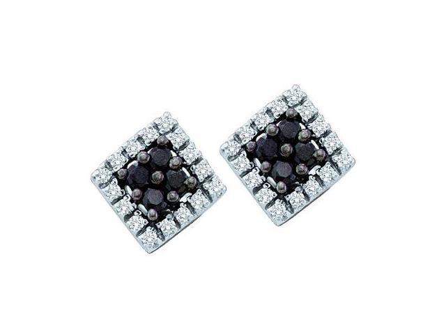 Black Diamond Stud Earrings Square 10k White Gold (1/4 Carat)