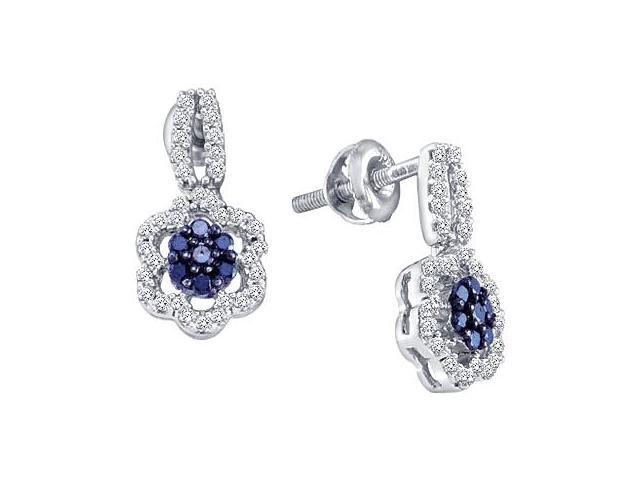 Aqua Blue Diamond Dangle Earrings 10k White Gold (1/3 Carat)