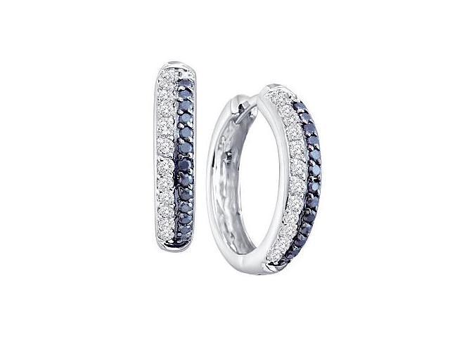 Black and White Diamond Hoop Earrings 14k White Gold (2/3 Carat)