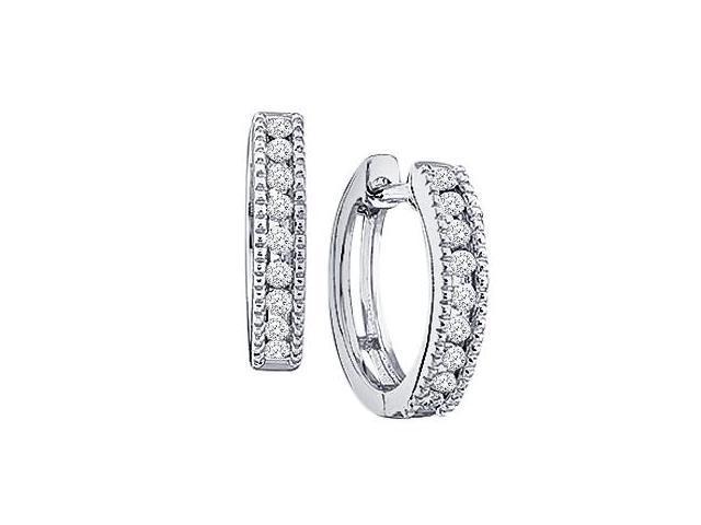 Diamond Hoop Earrings Milgrain Round 10k White Gold (1/4 Carat)