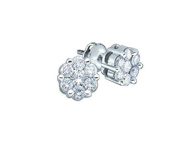 Diamond Stud Earrings Round Solitaire Set 14k White Gold (1.00 Carat)