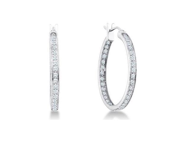 Diamond Classic Hoop Earrings 14k White Gold Round (1/4 Carat)