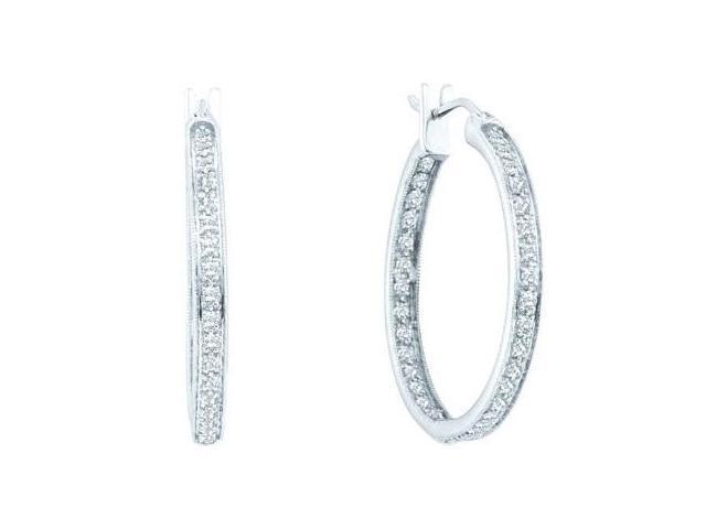 Diamond Hoop Earrings Classic 14k White Gold (1/2 Carat)