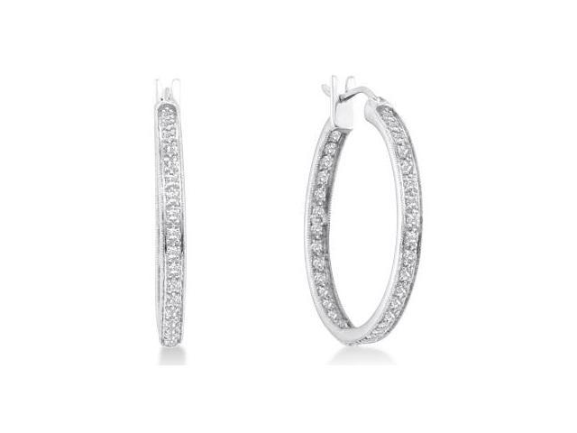 Diamond Hoop Earrings 14k White Gold Round (1.00 Carat)