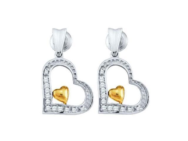 Diamond Dangle Heart Earrings Drop 10k Yellow White Gold (0.09 Carat)
