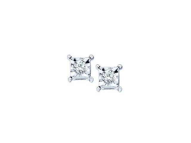 Solitaire Diamond Stud Earrings 10k Yellow Gold Square (0.05 Carat)