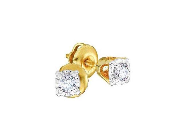 Solitaire Diamond Earring Studs Round 14k Yellow Gold (1/5 Carat)