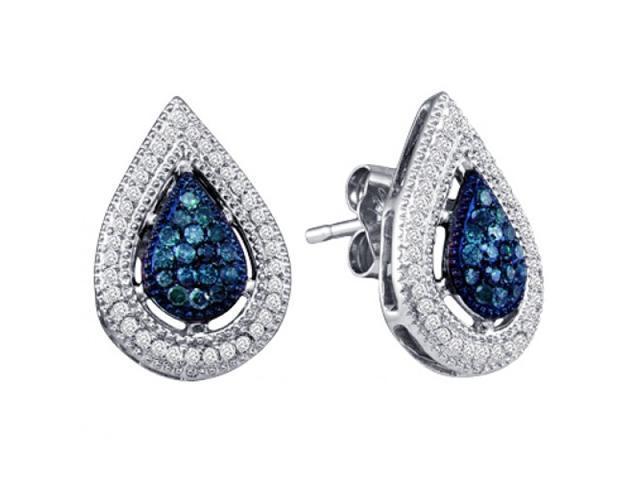 Aqua Blue Stud Diamond Earrings 10k White Gold Pear Shape (0.40 Carat)