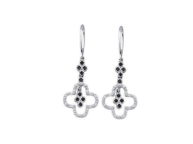 Dangle Black Diamond Earrings Cross 10k White Gold (0.16 Carat)