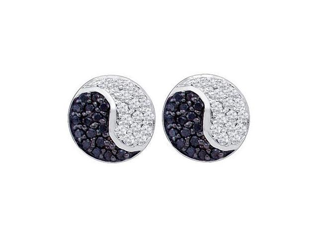 Yin Yang Black White Diamond Earrings Studs 10k White Gold (1/3 Carat)