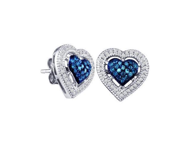 Blue Aqua Diamond Heart Earring Studs 10k White Gold (0.40 Carat)