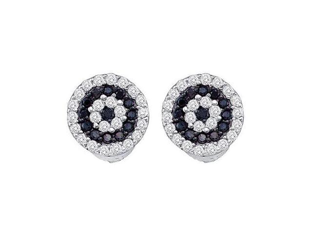 Black Diamond Stud Earrings Round 10k White Gold (1/4 Carat)