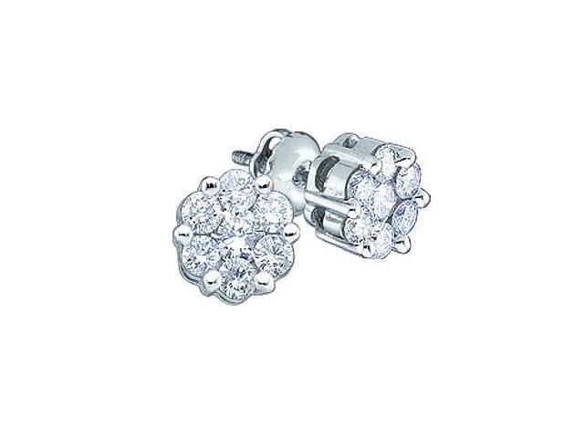 Diamond Stud Earrings 14k White Gold Round Channel Set (0.15 Carat)